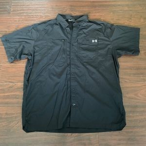 Under Armour Black Loose Fit Heat Gear Button-Down